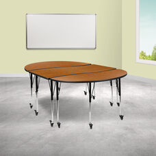 """3 Piece Mobile 86"""" Oval Wave Collaborative Oak Thermal Laminate Activity Table Set - Standard Height Adjustable Legs"""