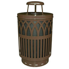 40 Gallon Covington Galvannealed Steel Rain Cap Can with Plastic Liner - Brown