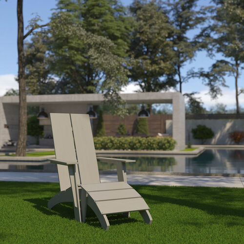 Sawyer Modern All-Weather Poly Resin Wood Adirondack Chair with Foot Restin Gray