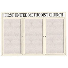 3 Door Outdoor Enclosed Bulletin Board with Header and White Powder Coated Aluminum Frame - 48