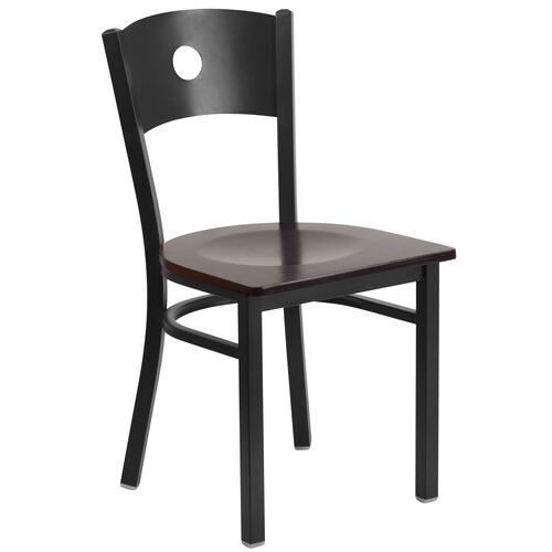 Our Black Circle Back Metal Restaurant Chair with Walnut Wood Seat is on sale now.