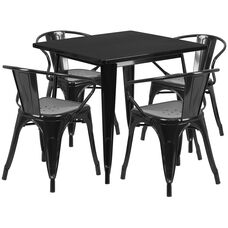 "Commercial Grade 31.5"" Square Black Metal Indoor-Outdoor Table Set with 4 Arm Chairs"