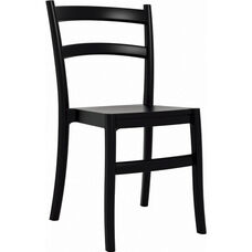 Tiffany Outdoor Resin Cafe Style Stackable Dining Chair - Black