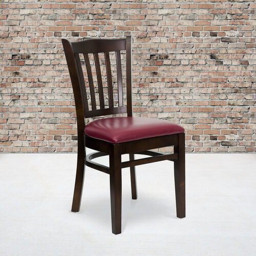Our Walnut Finished Vertical Slat Back Wooden Restaurant Chair with Burgundy Vinyl Seat is on sale now.
