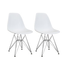 Paris Tower Side Chair with Chrome Legs and White Seat - Set of 2