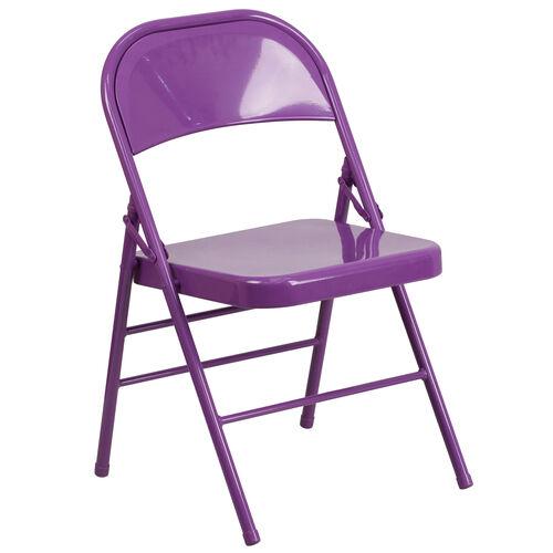 Our HERCULES COLORBURST Series Impulsive Purple Triple Braced & Double Hinged Metal Folding Chair is on sale now.