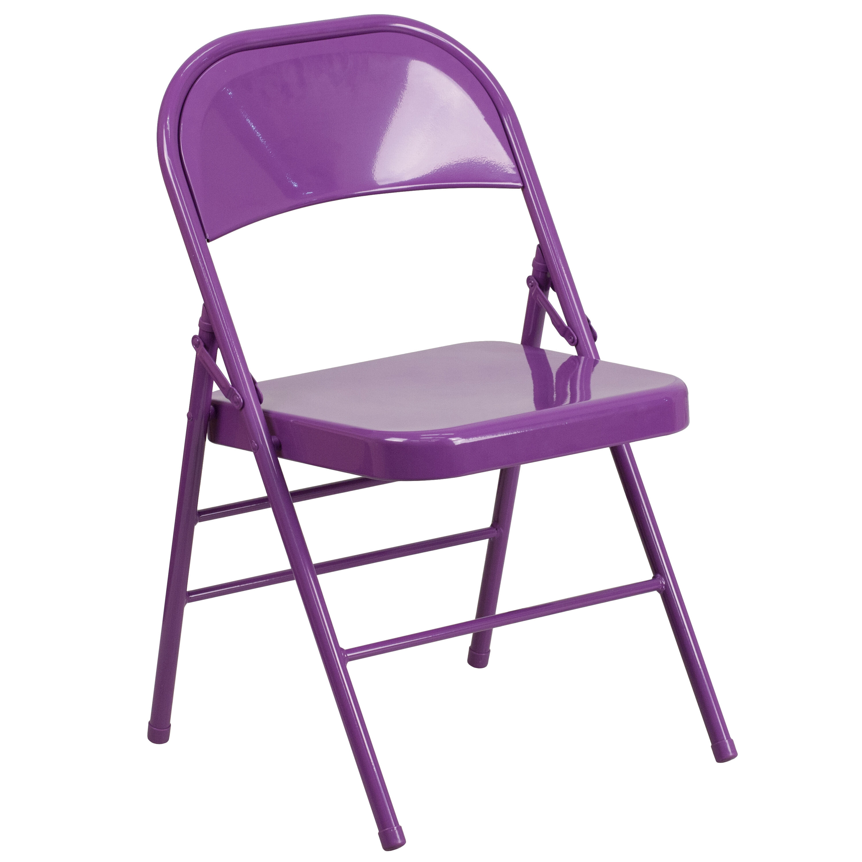 Charmant HERCULES COLORBURST Series Impulsive Purple Triple Braced U0026 Double Hinged  Metal Folding Chair