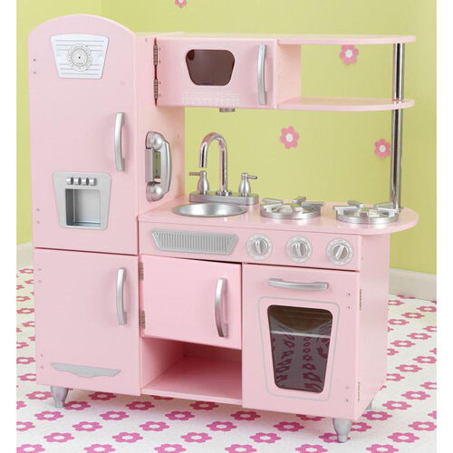 Our Kids Wooden Make-Believe Vintage Kitchen Play Set - Pink is on sale now.