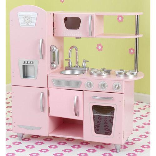 Kids Wooden Make-Believe Vintage Kitchen Play Set - Pink