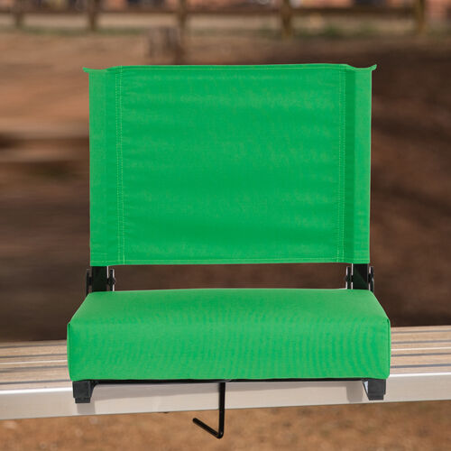 Grandstand Comfort Seats by Flash - 500 lb. Rated Lightweight Stadium Chair with Handle & Ultra-Padded Seat, Bright Green