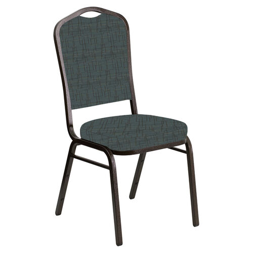 Embroidered Crown Back Banquet Chair in Amaze Azure Fabric - Gold Vein Frame