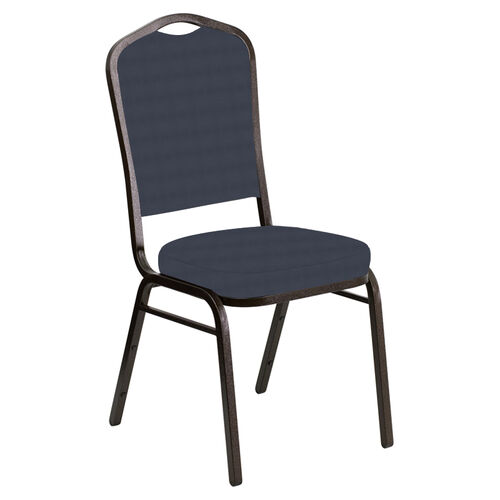 Our Embroidered Crown Back Banquet Chair in Harmony Navy Fabric - Gold Vein Frame is on sale now.