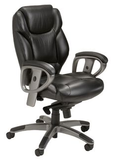 Ultimo 300 Series Mid Back Task Chair with Synchro Tilt Control - Black Leather with Slate Frame