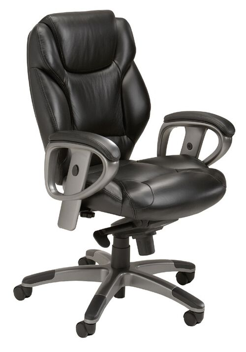 Our Ultimo 300 Series Mid Back Task Chair with Synchro Tilt Control - Black Leather with Slate Frame is on sale now.