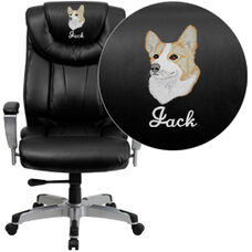 Embroidered HERCULES Series Big & Tall 400 lb. Rated Black Leather Executive Swivel Chair with Adjustable Arms