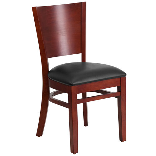 Our Mahogany Finished Solid Back Wooden Restaurant Chair with Black Vinyl Seat is on sale now.