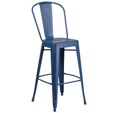 """Commercial Grade 30"""" High Distressed Antique Blue Metal Indoor-Outdoor Barstool with Back"""