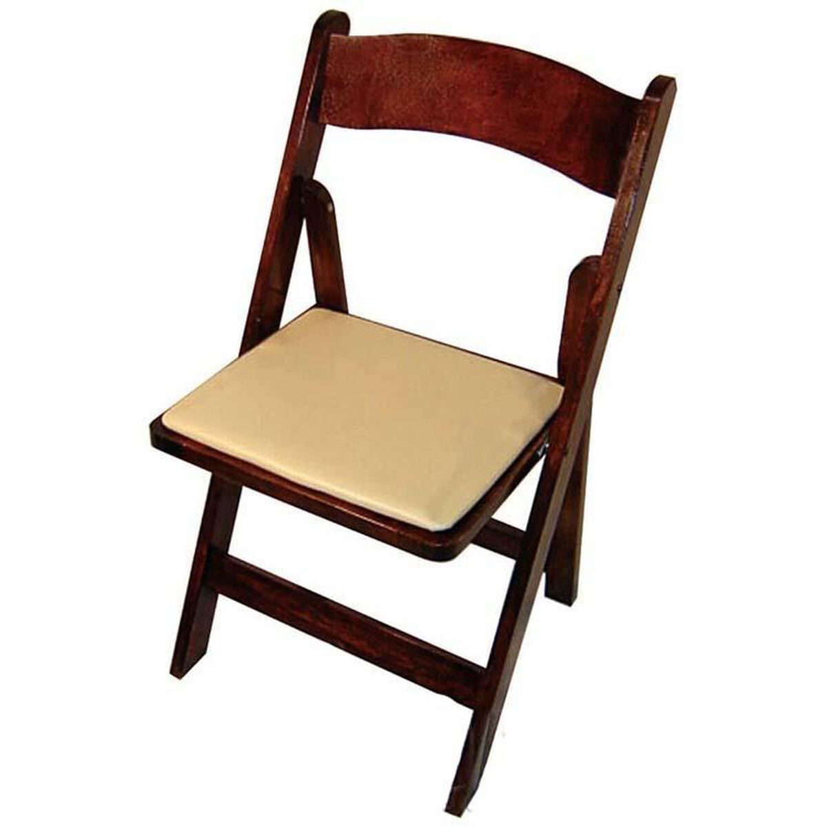 Our Classic Series 30 5 H Wood Folding Chair Fruitwood Tan Vinyl Seat