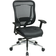 Space 818 Executive High Back Office Chair with Breathable Mesh Back and Leather Seat and 300 lb Weight Capacity