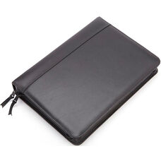 Deluxe Convertible Zip Around Binder Folio - Top Grain Nappa Leather - Black