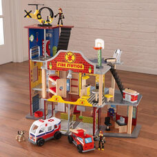 Kids Wooden Deluxe Fire and Rescue Station Play Set Includes 28 Pieces