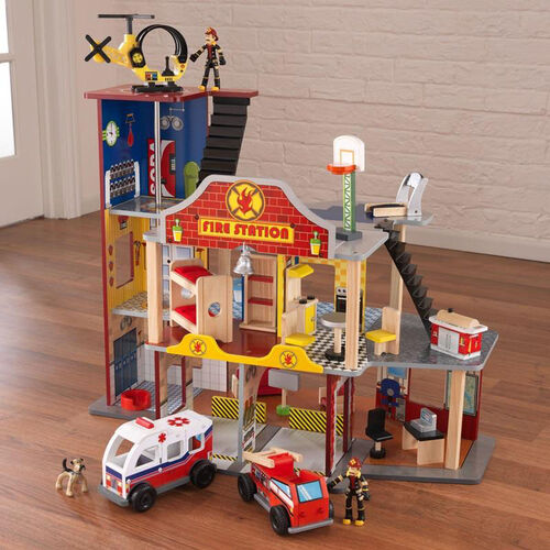 Our Kids Wooden Deluxe Fire and Rescue Station Play Set Includes 28 Pieces is on sale now.