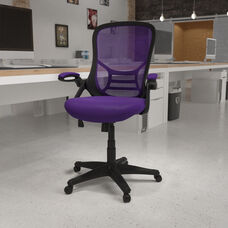 High Back Purple Mesh Ergonomic Swivel Office Chair with Black Frame and Flip-up Arms