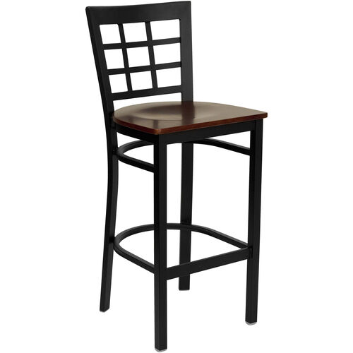 Our Black Window Back Metal Restaurant Barstool with Mahogany Wood Seat is on sale now.