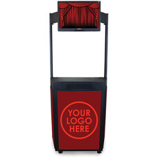 Vizion Event Booth with Computer Monitor Mount Marquee Header - Black