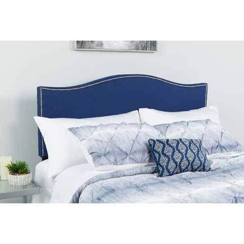 Our Lexington Upholstered Full Size Headboard with Accent Nail Trim in Navy Fabric is on sale now.