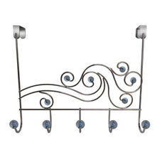 Phoenix Five Hook Over The Door Rack with Acrylic Ball - Transparent Blue