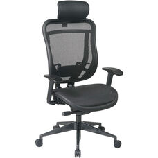 Space 818 Breathable Mesh Back and Seat Executive Office Chair with 2-to-1 Synchro Tilt and Leather Headrest - Black