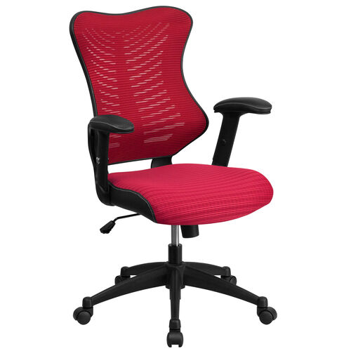 Our High Back Designer Burgundy Mesh Executive Swivel Ergonomic Office Chair with Adjustable Arms is on sale now.