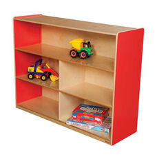Strawberry Red Versatile Single Plywood UV Finished Storage Unit with Rolling Casters - Fully Assembled on Casters - 46.75