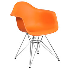 Alonza Series Orange Plastic Chair with Chrome Base