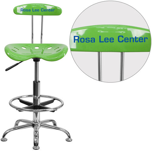 Our Personalized Vibrant Spicy Lime and Chrome Drafting Stool with Tractor Seat is on sale now.