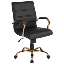 Mid-Back Black Leather Executive Swivel Chair with Gold Frame and Arms