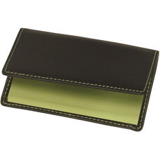 Business Card Case - Top Grain Nappa Leather - Black and Key Lime Green