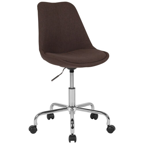 Our Aurora Series Mid-Back Brown Fabric Task Office Chair with Pneumatic Lift and Chrome Base is on sale now.