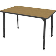 Apex Series Height Adjustable Rectangular Activity Table - Sand Shoal Top with Black Edge and Legs - 48