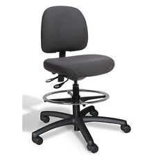 Fusion Medium Back Mid-Height Drafting Cleanroom ESD Chair - 4 Way Control - Black Vinyl