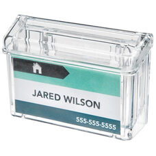 Outdoor Grab-A-Card Business Card Holder with Flip Lid - Clear