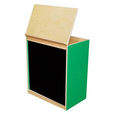 Green Apple Big Book Display and Storage with Locking Piano Hinged Top with Flannel on Front - Assembled - 24