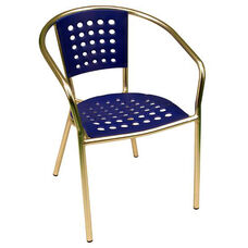 South Beach Hand Polished Tubular Aluminum Stackable Club Chair - Blue