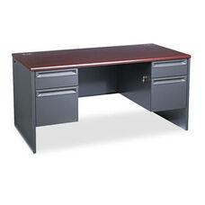 HON® 38000 Series Double Pedestal Desk - 60w x 30d x 29-1/2h - Mahogany/Charcoal