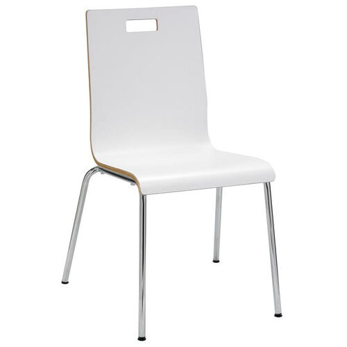 JIVE Series Stacking Bentwood Armless Cafe Chair with HPL Surface and Silver Steel Frame White