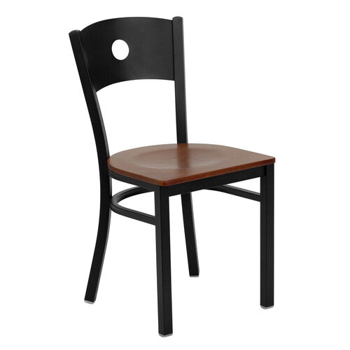 Our Black Circle Back Metal Restaurant Chair with Cherry Wood Seat is on sale now.