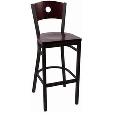 Circle Series Wood Back Armless Barstool with Steel Frame and Wood Seat - Mahogany