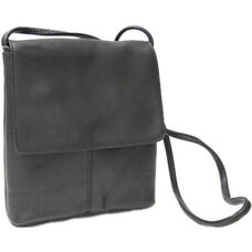 Small Flap Over Crossbody Bag - Colombian Vaquetta Leather - Black