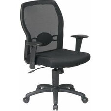 Work Smart Woven Mesh Back Office Chair with Mesh Seat - Black